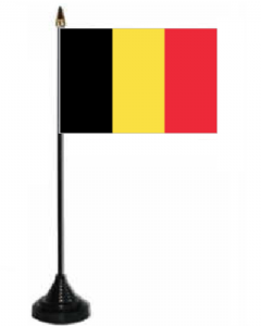 Belgium Desk / Table Flag with plastic stand and base.